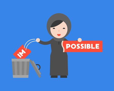 Arab woman change the impossible sign to possible,motivation flat concept