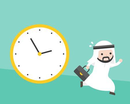 Arab businessman running from big clock follow him, flat design vector rushing hours and deadline concept