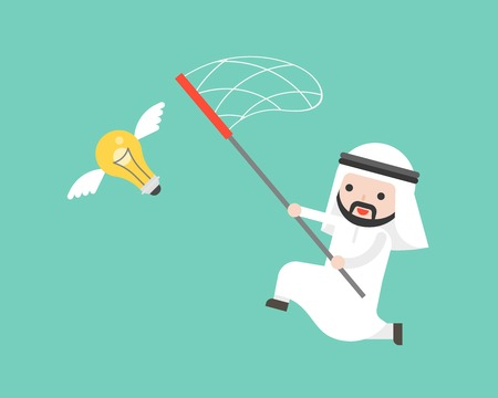 Arab businessman try to catch flying idea bulb with a net, flat design vector