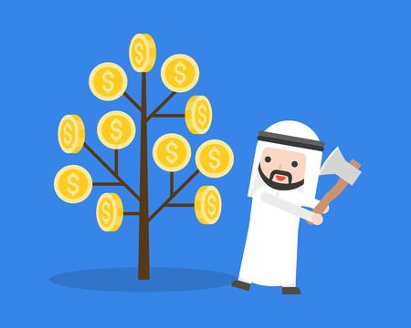 Arab businessman prepares to cut a money tree with axe, stupid and greedy people concept
