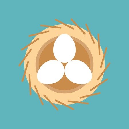 eggs in bird nest, easter and spring symbol, flat design icon Ilustrace