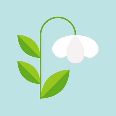 white campanula flower icon isolated on sky blue background, vector illustration