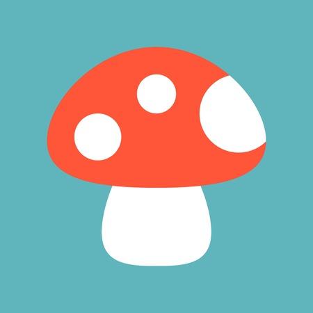 wild mushroom icon isolated on blue sky background vector illustration, flat style Çizim