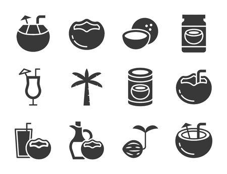 niedliche Kokosnuss verwandte Ikonensatz, festes Design Vektorgrafik