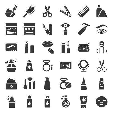 Solid or glyphs icon, cosmetic and personal care products, vector illustration