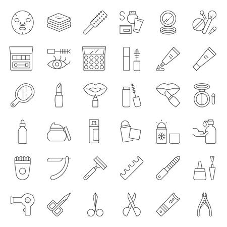 Cosmetic and beauty vector icon set, outline style