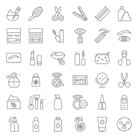 Cosmetic and personal care products thin line icon, vector illustration