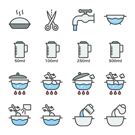 cooking instruction icon filled outline editable stroke for use in label