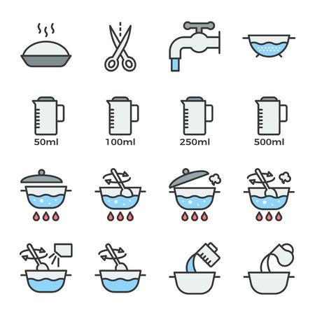 Icône d'instructions de cuisson contour rempli contour modifiable pour une utilisation dans l'étiquette