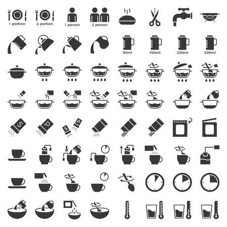 icono sólido de instrucciones de cocción, material para usar en paquete y recipiente