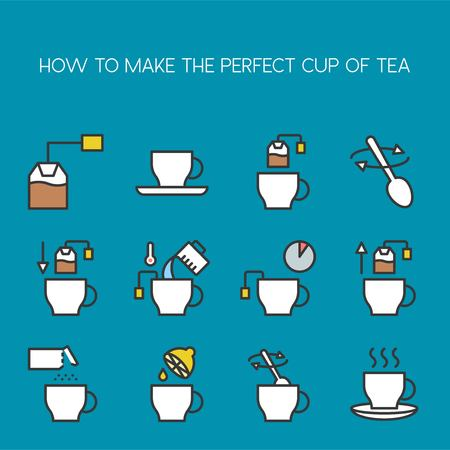 cooking instruction how to make perfect cup of tea icon filled outline editable stroke
