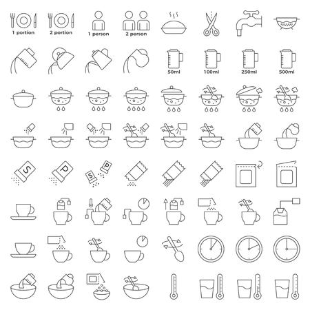 Icono de esquema de instrucciones de cocina, material para usar en paquetes y contenedores