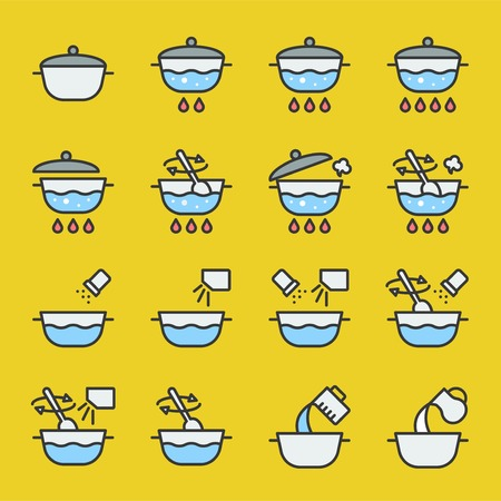 cooking instruction icon filled outline editable stroke for use in package or label  イラスト・ベクター素材