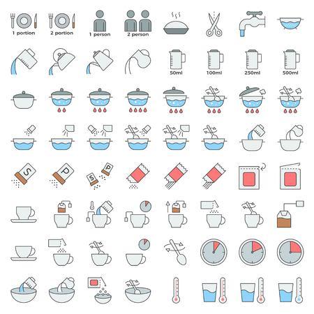 kookinstructie overzicht pictogram bewerkbare streek, materiaal voor gebruik in verpakking en container Vector Illustratie