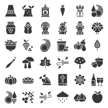 Thanksgiving icon big set, glyph or solid design on white background Illustration