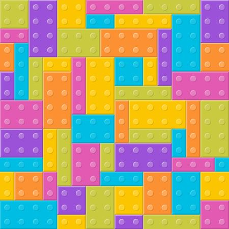 building blocks toy seamless pattern with cliping mask, flat design Illustration