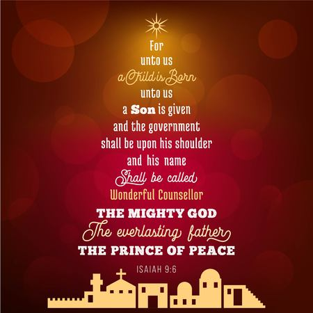 Bible verse from Isaiah 9:6 about jesus christ , a child is born, on bokeh background in Christmas theme, vector illustration