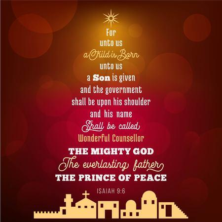 Versetto biblico di Isaia 9: 6 su gesù cristo, è nato un bambino, su sfondo bokeh di fondo in tema natalizio, illustrazione vettoriale