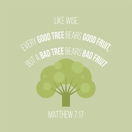 Bible verse typographic poster from matthew about good and bad people, vector illustration