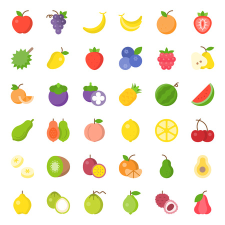 Cute fruit flat vector icon set, such as orange, kiwi, coconut, banana, papaya, peach, tropical fruits