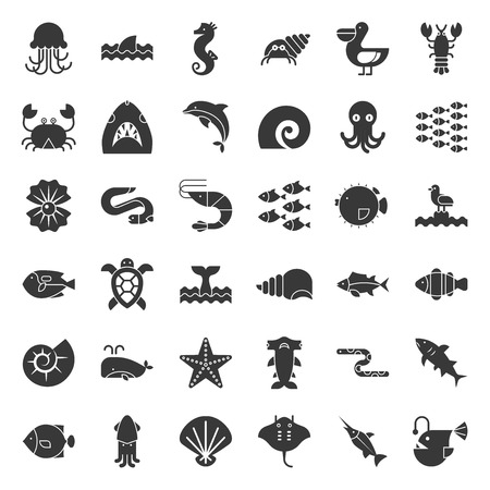 Aquatic Ocean life such as octopus, shell, pelican,herd of fish, vector solid icon set