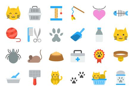 cute kitten related icon such as cat litter box and toy, flat design