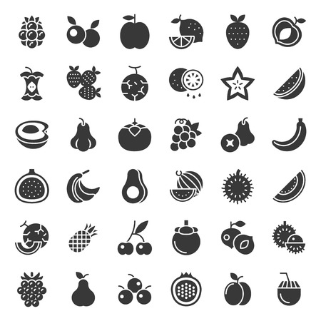 Cute fruit and berries, vector solid icon set 2