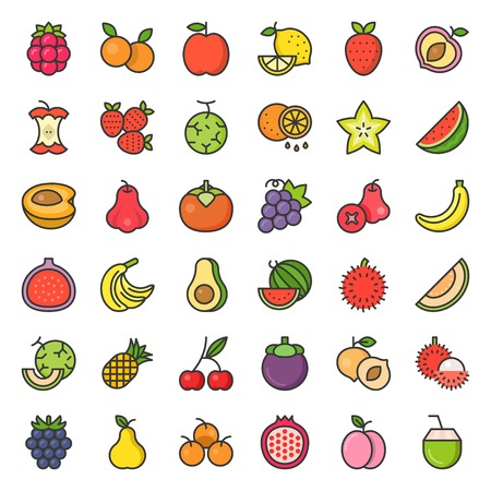 Cute fruit and berries icon set 2, filled outline vector