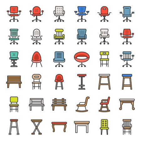 Chair, stool, armchair and bench, vector filled outline furniture icon