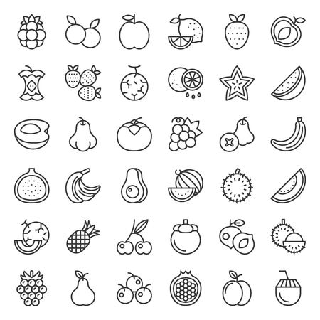 Cute fruit and berries vector, outline icon set 2