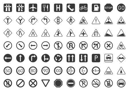 Traffic sign solid icon set, vector illustration