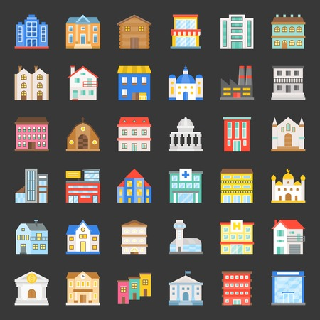 building construction vector icon set 1/3, flat style