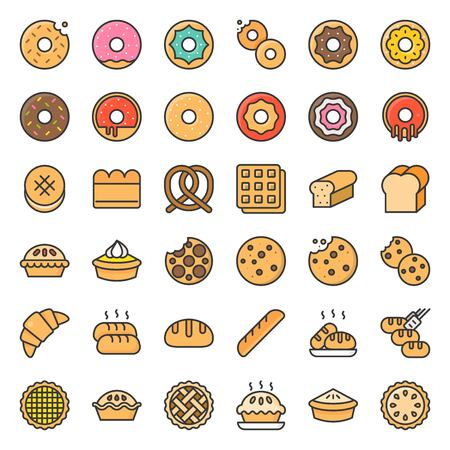 Bread, donut, pie, bakery product, vector filled outline icon set