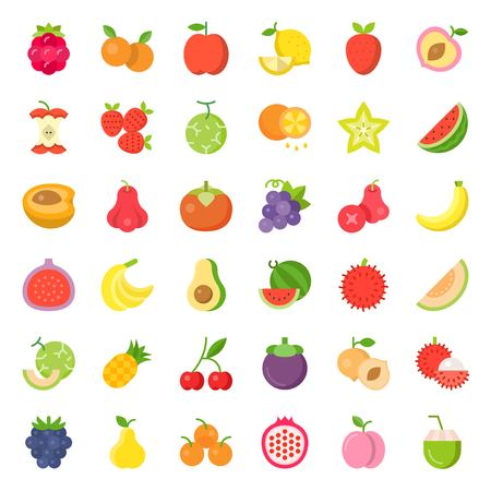 Cute fruit and berries vector, flat icon set 2