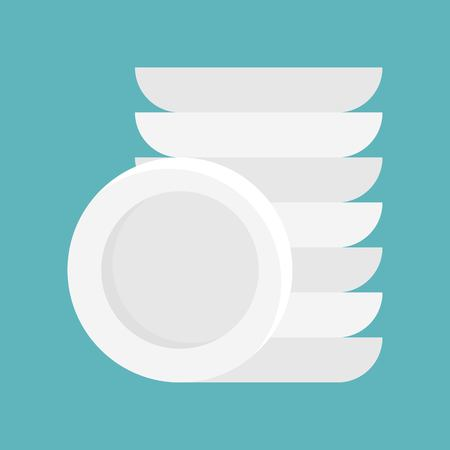 Dish and stack of dishes vector icon, isolated flat design Çizim