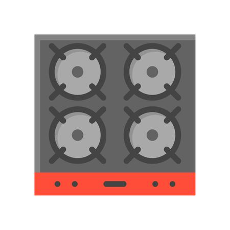 Gas stove vector, stove top arial view icon