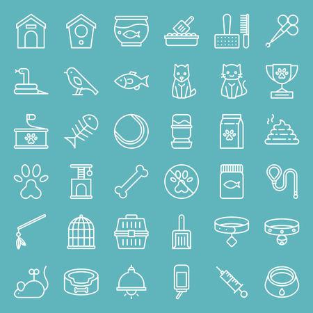 Pet shop line vector icon set, isolated on blue sky background Foto de archivo - 109505329