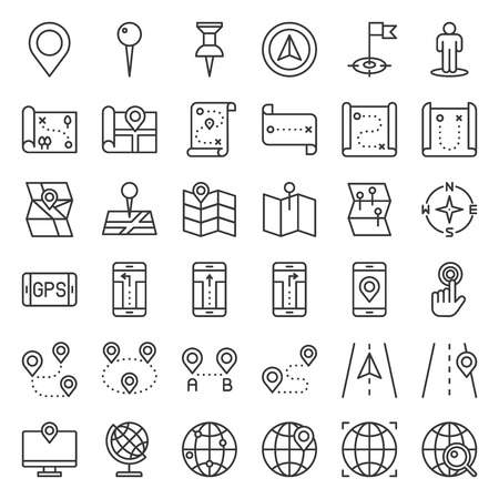 Map, location, pin and navigation vector, outline icon Ilustração