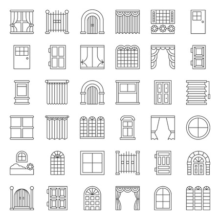 Modern, vintage Door and window vector icon set, outline style Vectores