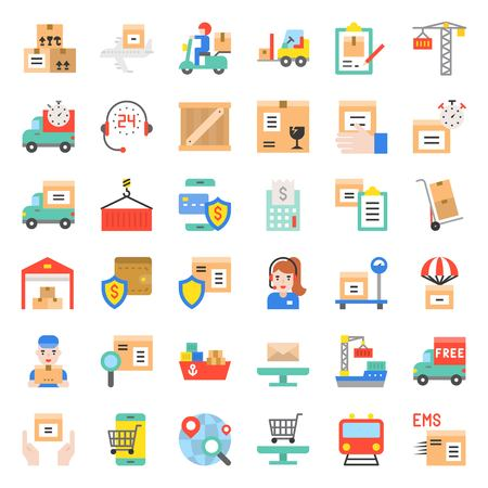 Logistic and shipping business vector icon, flat design