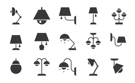 Varied type of Lamp icon set, solid style