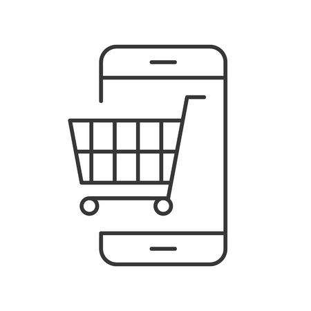 Trolley on cellphone screen vector, Line icon shopping online and e commerce concept
