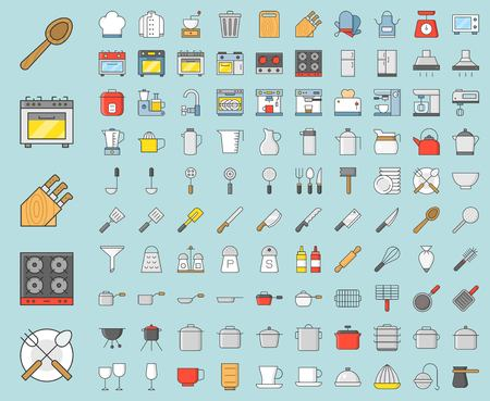 Kitchen utensils and device, bakery equipments, chef uniform and household appliance vector 100 icons, drawing on grid system, filled thin outline icon 1 px stroke