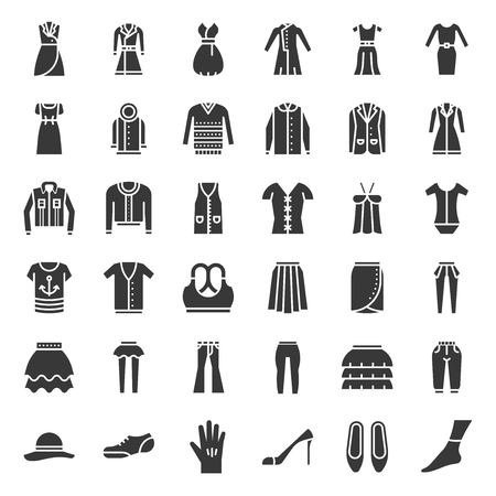 Female clothes, bag, shoes and accessories, solid vector icon set 3
