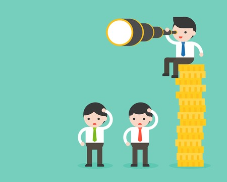 Tiny businessman sitting on stack of gold coins, holding binocular, another businessman standing on floor, advantage of richer about vision, flat design capitalism concept