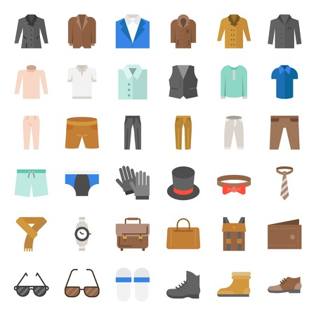 Male clothes and accessories icon set 3, flat design