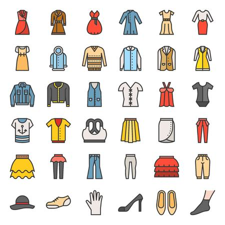 Female clothes, bag, shoes and accessories filled outline vector icon