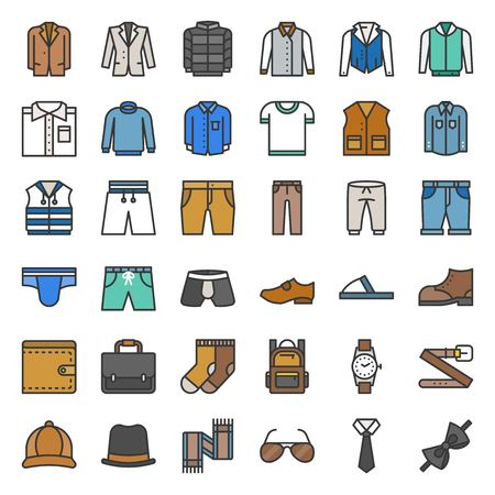 Male clothes and accessories filled outline vector icon set 1