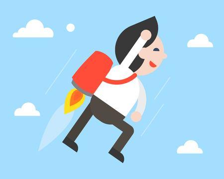Businessman flying with jetpack in sky, flat design vector Illustration