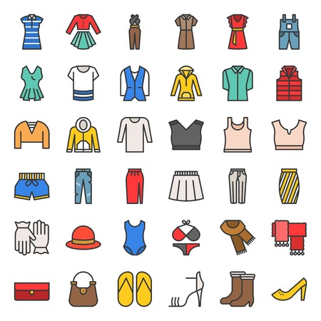Female clothes, bag, shoes and accessories filled outline vector icon set 2 Illustration